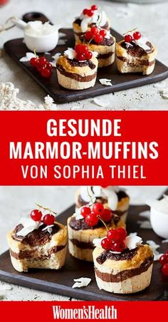 Natürlich ernährt sich Sophia Thiel sehr diszipliniert. Trotzdem gönnt sie sich nach dem Training gern eine süße Belohnung. Zum Beispiel diese süßen Low Carb Marmor-Muffins!