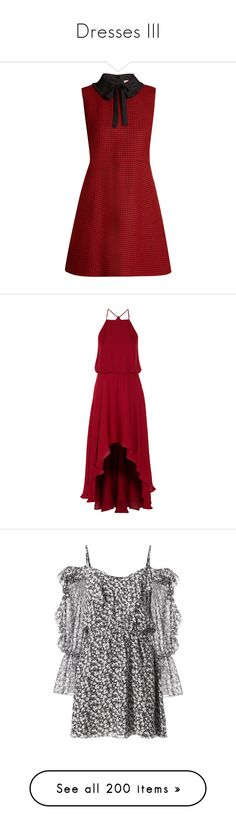 """""""Dresses III"""" by lucyheartyui on Polyvore featuring dresses, vestidos, red, tie neck tie, fit flare dress, short dresses, red necktie, short red dress, burgundy i silk dress"""
