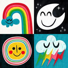 Rainbow Bright and Charming yet Graphic Illustrations from Pintachan Cute Illustration, Graphic Design Illustration, Graphic Illustrations, Rainbow Paper, Rainbow Cloud, Partys, Art Lessons, Print Patterns, Art For Kids
