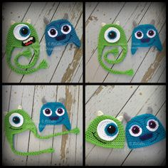 Image of Mike and Sully Monster Hat CROCHET PATTERNS