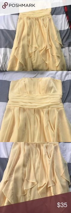 Size 10 Canary Yellow Davids Bridal Gown Worn once for wedding. No stains, good condition! David's Bridal Dresses Strapless