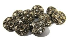 VINTAGE Black Glass BUTTONS Nine (9) Antique Victorian Black Glass Cut Steel Look Silver Luster Wedding Jewelry Costume Supplies (M97) by punksrus on Etsy