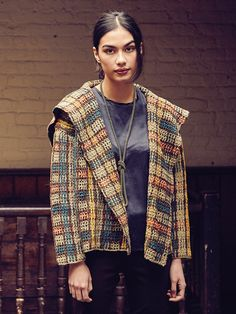 Colonsay - Crochet this ladies boxy jacket with shawl collar from Rowan Knitting & Crochet Magazine 58, a design by Lisa Richardson using the wonderful combination of two of our Yorkshire yarns Rowan Tweed (wool) and Rowan Fine Tweed (wool.) This jacket is worked in a stripe sequence with the vertical lines crocheted over the holes of the mesh, this knitting pattern is suitable for the average crocheter.