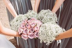 Dusky pink vintage bridal bouquet & gypsophila baby's breath bridesmaid posey - Image by Lemonade Pictures - A Lace Raimon Bundo Wedding Dress & L.K.Bennet Shoes for a traditional English country wedding with Beaded Virgos Lounge ASOS Bridesmaid Dresses & Navy REISS Groomsmen suits.