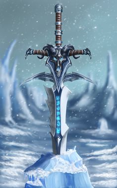 "Drawing of Frostmourne. ""Whomsoever takes up this blade shall wield power eternal. Just as the blade rends flesh, so must power scar the spirit."""