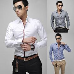 Cheap stylish dress shirts, Buy Quality dress shirt long sleeve directly from China fit shirt Suppliers: Mens Casual Slim Fit Shirt Luxury Business Stylish Dress Shirts Long Sleeve Men's Tops Obscure Lapel Neck Button Down Blouses Business Shirts, Business Casual Men, Men Casual, White Casual, Stylish Shirts, Casual Shirts, Formal Shirts, Men Shirts, Mens Designer Shirts
