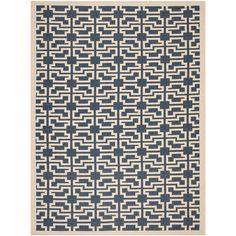 Safavieh Indoor/ Outdoor Courtyard Trellis-pattern Navy/ Beige Rug (5'3'' x 7'7'') , Blue, Size 5'3 x 7'7 (Olefin, Geometric)
