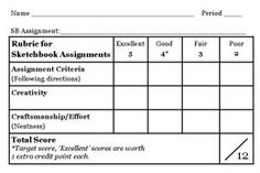 Sketchbook Rubric for upper grades, adapt for 1-4.