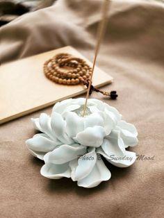 Porcelain Ceramic Zen Yoga Art Floral Peony Incense Burner Joss Stick Holder #Handmade Zen Yoga, Yoga Art, Cold Porcelain, Porcelain Ceramics, Resin Art, Clay Art, Ceramic Incense Holder, Candle Art, Ceramic Flowers