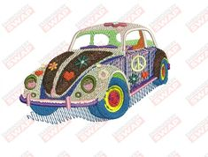 VW Bug Machine Embroidery Design File Embroidery Files, Machine Embroidery Designs, Design Files, Vw, Bugs, Sewing, Ideas, Dressmaking, Couture