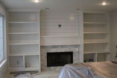 Ikea Besta + mdf + marble subway tile from HD = built in wall built it! Ikea Besta + mdf + marble subway tile from HD = built in wall Fireplace Built Ins, Diy Fireplace, Fireplace Surrounds, Fireplace Design, Fireplace Stone, Fireplace Bookcase, Subway Tile Fireplace, Fireplace Outdoor, Off Center Fireplace