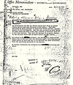 Memo written by the Special Agent in Charge of the Washington Field Office to the FBI Director on March 22, 1950 that confirms the Roswell UFO incident in 1947