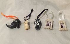 HALLOWEEN ORNAMENT SET OOAK  Polymer Clay Witch Shoe Coffin Owl Ghoul Miniatures