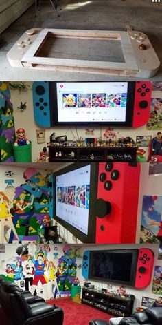Nintendo TV 65 inch tv mounted onto a wooden tv stand made like a g. Nintendo TV 65 inch tv mounted onto a wooden tv stand made like a giant Nintendo switc Wooden Tv Stands, Video Game Rooms, Video Game Bedroom, Video Game Decor, Video Games, Gaming Room Setup, Computer Gaming Room, Gaming Chair, Game Room Design