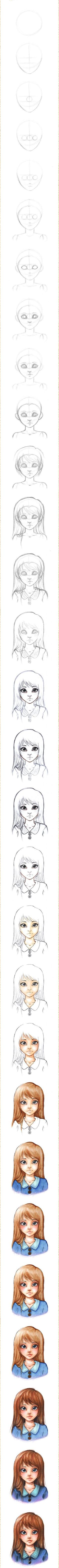 How to draw girls faces, drawing girl face, drawing lesson Drawing Lessons, Drawing Techniques, Drawing Eyes, Painting & Drawing, Drawing Hair, Sketch Drawing, Drawing People, Drawing Girls, Art Tips