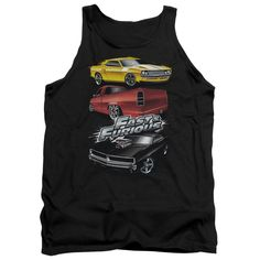 """Fast And Furious Muscle Cars Adult Tank Top - Charcoal. First, they gave us Vin Diesel and Paul Walker (R.I.P.). Then we got Tyrese Gibson, Lucas Black, and Dwayne """"The Rock"""" Johnson. Now, we get Kurt Russell and Jason Statham! The greatest action-movie franchise just keeps getting better and better with each new installment. Show your love for them today with this item from our incredible Fast & Furious apparel:  100% Cotton Finest Quality Pre-Shrunk Machine Washable Authentic and..."""