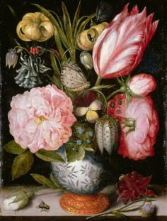 Antique floral painting. Still Life of Flowers in a Porcelain Vase by Ambrosius  Bosschaert the Elder
