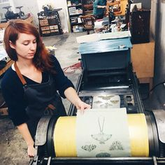 The one-woman powerhouse behind @LIONTAIL_PRESS. Laurin busy letterpress printing our brand new Moth Study print at Liontail Press HQ. #IGtakeover #YApopup