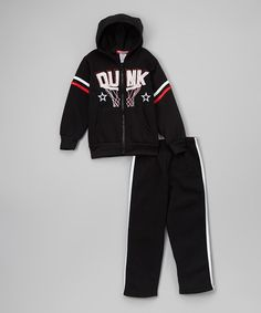 Love this Black 'Dunk' Zip-Up Hoodie & Pants - Toddler by Teddy Boom on #zulily! #zulilyfinds