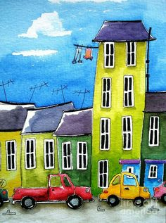ACEO Print Watercolor Folk Art illustration landscape whimsical home Tall house Watercolor Illustration, Watercolor Paintings, Watercolors, House Illustration, Naive Art, Whimsical Art, Teaching Art, House Painting, Cute Art