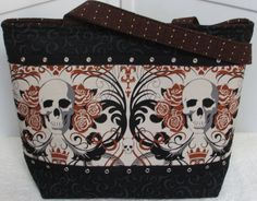 Regent Skull Tote in Brown Large Tattoo and Skull purse by Mokadesigntotes