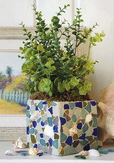 Craft Ideas : Projects : Details : seaglass-mosaic-planter