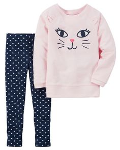 Toddler Girl 2-Piece French Terry Top & Legging Set from Carters.com. Shop clothing & accessories from a trusted name in kids, toddlers, and baby clothes.