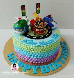 Robocar poli design fresh cream cake