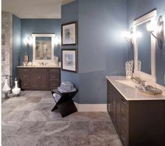 Blue tan bathroom- I like the different color tan tile, maybe tan walls rather than blue