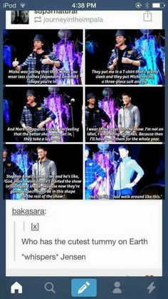 Haha I would love to see a convo between Stephen Amell and the Supernatural boys! Jensen Ackles, Jensen And Misha, Jared Padalecki, Misha Collins, Destiel, John Barrowman, Sammy Supernatural, Supernatural Clothes, Super Natural