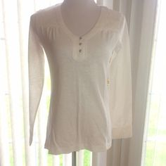 Long Sleeve Top White long sleeve top with lace accents on the shoulders, three button V neck. (PB2) Eddie Bauer Tops Tees - Long Sleeve