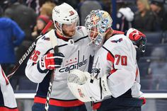 EDMONTON, AB - OCTOBER Nicklas Backstrom and Braden Holtby of the Washington Capitals celebrate after winning the game against the Edmonton Oilers on October 2017 at Rogers Place in Edmonton, Alberta, Canada. (Photo by Andy Devlin/NHLI via Getty Images) Braden Holtby, Nhl Awards, Columbus Blue Jackets, Nhl News, Nhl Games, New York Islanders, Edmonton Oilers, Washington Capitals, Hockey Teams