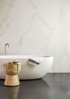 Caesarstone now brings fresh ideas and new levels of luxury, timeless elegance and functionality to the bathroom using quartz surfaces. Steam Showers Bathroom, Laundry In Bathroom, Bathroom Concrete Floor, Concrete Floors, Calacatta Nuvo, Bathroom Showrooms, Dream Bathrooms, Bathroom Inspiration, Bathroom Ideas