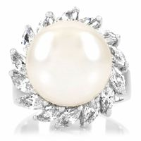 Reijo's Faux Pearl and CZ Cocktail Ring - Final Sale