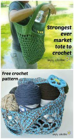 Sturdy market tote bag crochet pattern - free.