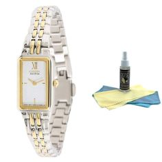 Citizen EG2824-55A Women's Eco-Drive Two Tone Stainless Steel White Dial Watch with 30ml Ultimate Watch Cleaning Kit