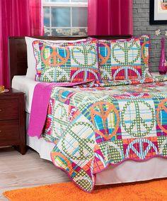 Love this Pink & Green Quilt Set on #zulily! #zulilyfinds
