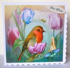 Spring Robin Tulips Topper with Decoupage on Craftsuprint designed by Barbara Hiebert - made by Margaret McCartney - I printed the design onto good quality photographic paper and cut it out. I scored and folded a 7 x 7 scalloped edged card. I attached the design to the card using double sided tape. I assembled the decoupage using thin foam tape. I added the greeting using thin foam tape.  - Now available for download!