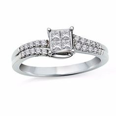 3/8 Ct Square Princess Quad Diamond Double Row Engagement Ring In 10K White Gold by JewelryHub on Opensky