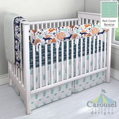 Crib bedding in Navy and Orange Woodland Animals, Mint Herringbone, Mint Deer Head, Navy and White Arrow, Navy Woodland Animals, White and Mint Classic Herringbone. Created using the Nursery Designer® by Carousel Designs where you mix and match from hundreds of fabrics to create your own unique baby bedding. #carouseldesigns