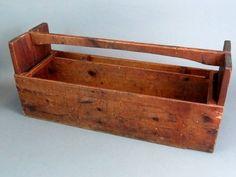 """31"""" Vintage Handmade Wooden Garden Tool Trug Caddy Carrier Storage Box  Primative"""