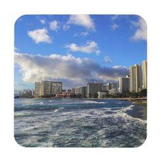 Sky's The Limit Plastic Coasters w/ cork back. #coasters #Hawaii #beach
