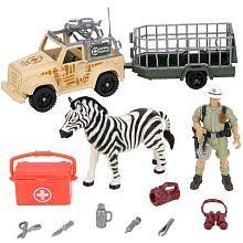 Animal Planet Rescue Set - Zebra by Toys R Us. $21.09. Get set for a rescue adventure with the Animal Planet Zebra Rescue Playset, a Toys'R'Us exclusive. When your explorer action figure encounters this troubled zebra out in the wild, he can load it into the trailer and cart it away with his camera vehicle to a nursery. Once the zebra is all better, press the button on its back for a head bobbin', leg-kicking good time. The Animal Planet Rescue Set - Zebra features: Includes ...