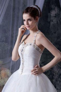Neckholder Ballgown Applikation verzierte Kanten gefaltetes Brautkleid aus Organza