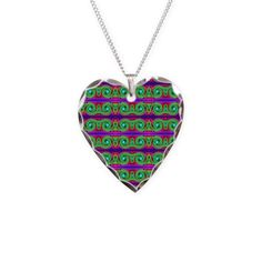 Colorful Green Pattern Heart Necklace #cafepress #necklace #jewelry
