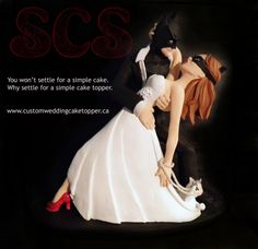 Custom Wedding Cake Toppers Batman and Catwoman. Order your custom wedding cake topper today! Concept and sculpt by Sophie Cartier Sculpture