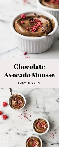 Avocado Smoothie, Avocado Mousse, Avocado Dessert, Avocado Recipes, Raw Food Recipes, Snack Recipes, Dessert Recipes, Healthy Recipes, Vegan Snacks