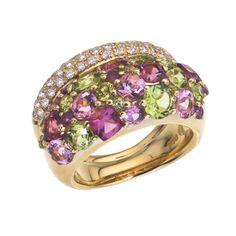 Brumani 18K Yellow Gold Garnet & Peridot Ring