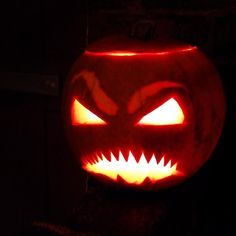 That'll scare beasties and bogles away. Would've been better in turnip mind. #halloween #pumpkin