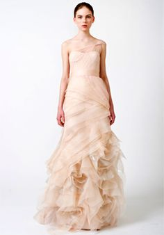 vera wang peach wedding gown